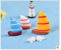 Miniatures garden Sail sailboat figurine Resin Craft Micro Landscape Crafts Home Decoration Dollhouse terrarium supplies