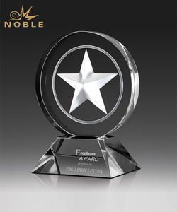 3d Laser Engraving Star Crystal Round Award on Clear Base