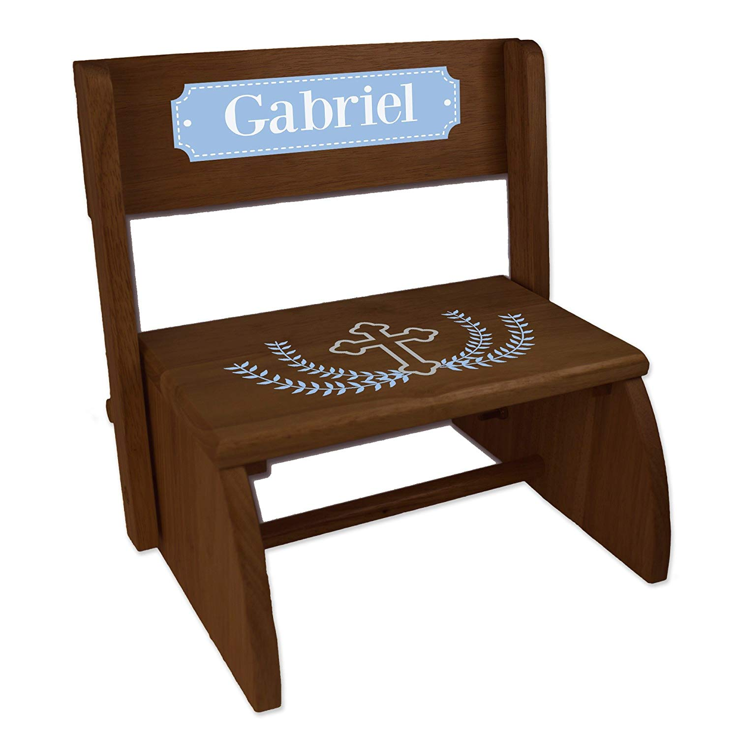 Personalized Cross Garland Light Blue Espresso Wooden Folding Stool and Seat