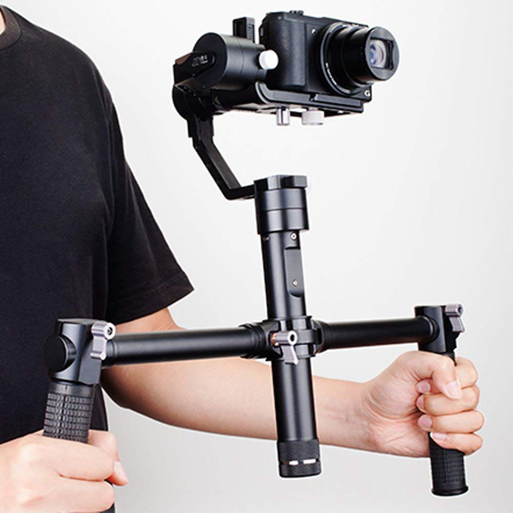 Acouto Zhiyun Double Grip Stabilizer, Cardan Stabilizer for Grip Dual Portable Aluminum Alloy Handle for Lightweight Extension Camera for Zhiyun Crane/Crane-M Cardán