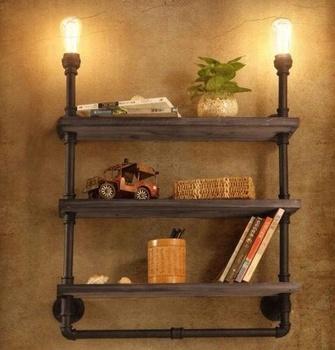 Vintage Industry Retro Iron Shelf Wall Light Loft Water Pipe Bookshelf Lamp Room