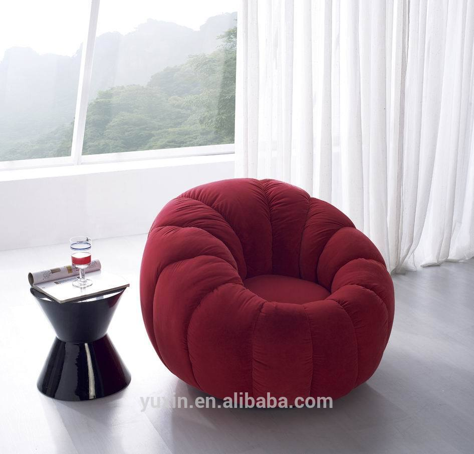 Luxury Velvet Single Wooden Sofa Chair Round Mini