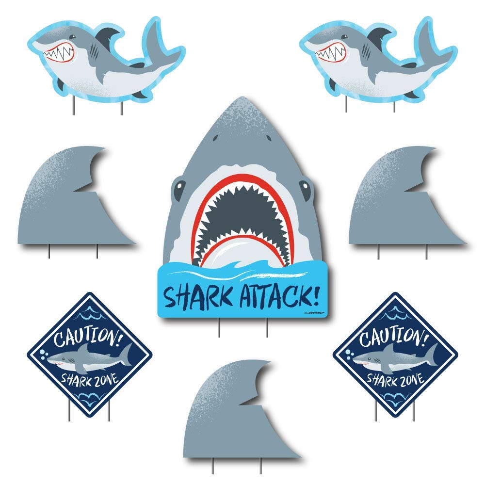 Shark Zone - Yard Sign & Outdoor Lawn Decorations - Jawsome Shark Party or Birthday Party Yard Signs - Set of 8