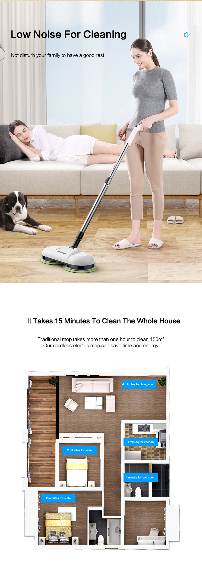 LIECTROUX F528A electric mop cleaner, one hand operation, low noise