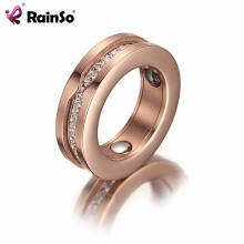 Fashionable Anniversary Rose Gold Magnetic Engraved Women Ring