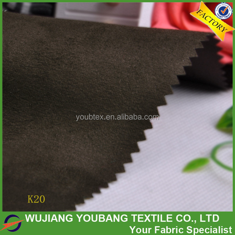 2016 newly cheap soft 100% polyester black faux suede fabric