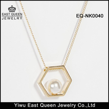 Fashion Women's Hexagon Pearl Necklace