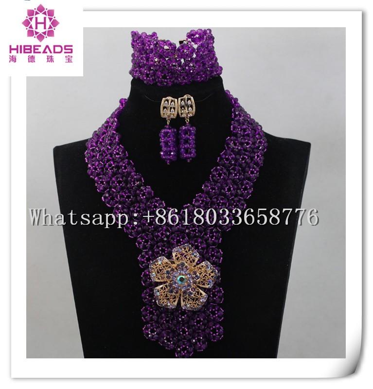 2016 Latest Fashion Purple African Bead Jewelry Handmade Nigerian ...
