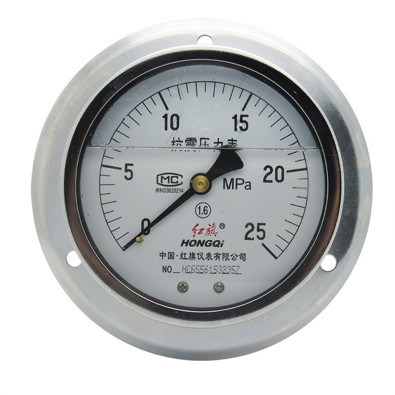 hongqi dial 100mm All Stainless Steel Pressure Gauge with Front Flange back connection