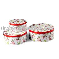 Round x'mas gift set tin box