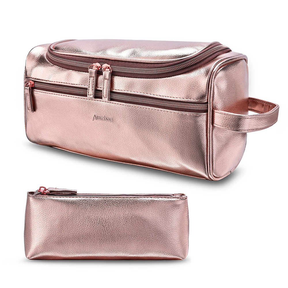 Rose Gold Pu Leather Travel Toiletry Organizer Bag Portable Cosmetic Makeup Bag View Travel