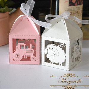 Fancy sheep and tractor design baby shower decoration laser cut paper craft rustic small gift boxes