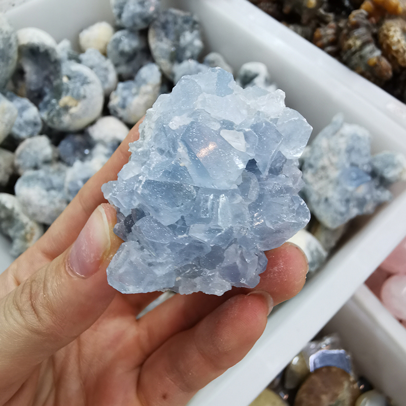 Wholesale Natural Raw Round Celestite Geode Crystal Cluster for Decoration