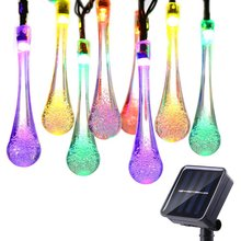 Christmas Holiday Decoration Light 20 LED Water Drop Fairy Solar String Light