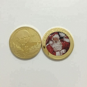 Souvenir Rudolph the Red-Nosed Reindeer Christmas Santa gold plated coin