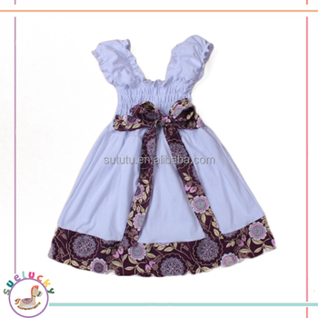 Birthday bow belt dress white big girl frock design 2 year old girl free prom dress