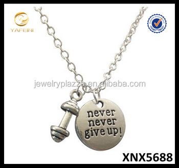 925 silver dumbbell necklace never never give upbarbell necklace 925 silver dumbbell necklace never never give up barbell necklace kettlebell fitness jewelry aloadofball Images