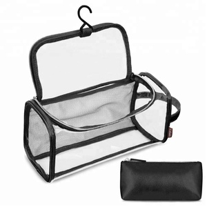 2018 New Style Travel Toiletry Bag Portable Hanging PVC Clear Cosmetic Vanity Bag Black