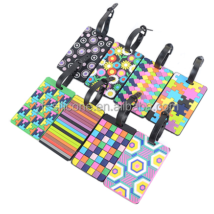 Color geometric pattern Travel custom 3D Soft PVC rubber Luggage Tag,Bag Tags