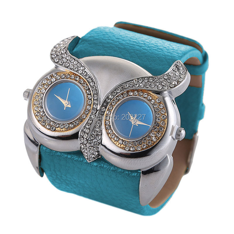 Owl Irregular Double Dial Watches 2015 wide band Women Watches Fashion Luxury Casual Dress Watch Leather Quartz Wristwatch