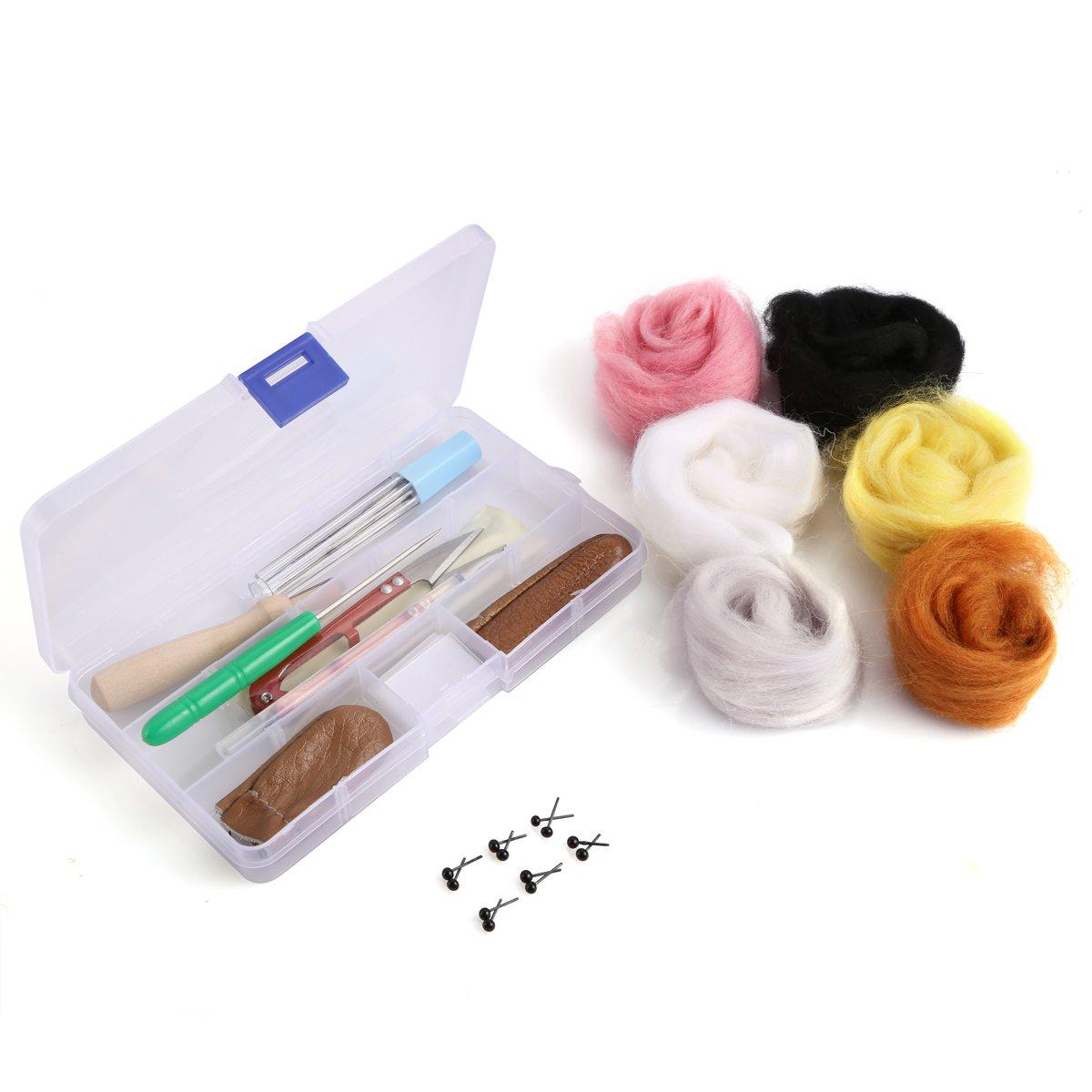 OPount Needle Felting Starter Kit Wool Felt Tools MatNeedle Felting Basic Kit with 6 Colors Wool Roving