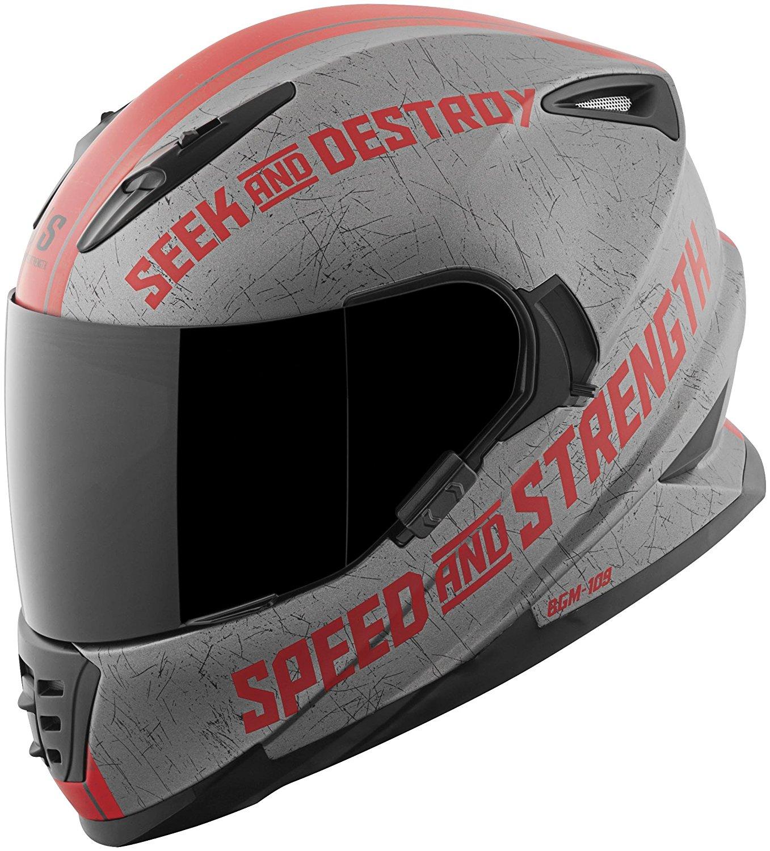 Speed & Strength SS1600 Cruise Missile Helmet, Distinct Name: Matte/Charcoal Red, Gender: Mens/Unisex, Helmet Category: Street, Helmet Type: Full-face Helmets, Primary Color: Gray, Size: Md, 871451