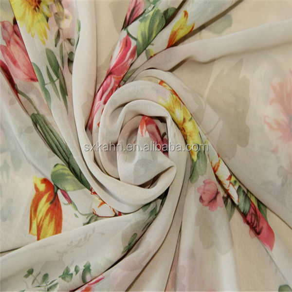 Shaoxing floral digital printed silk chiffon fabric stock lot for children's clothing
