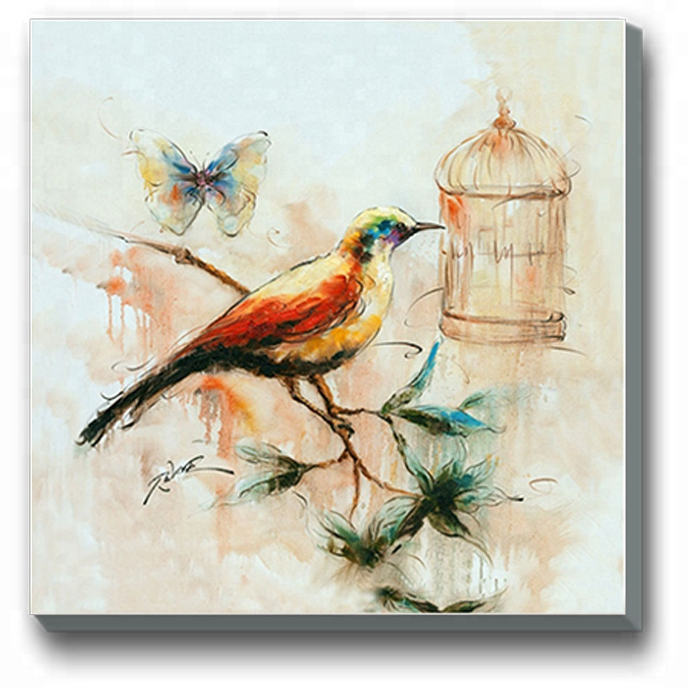 Chinese Birdcage Canvas Butterfly Wall Art Oil Paintings