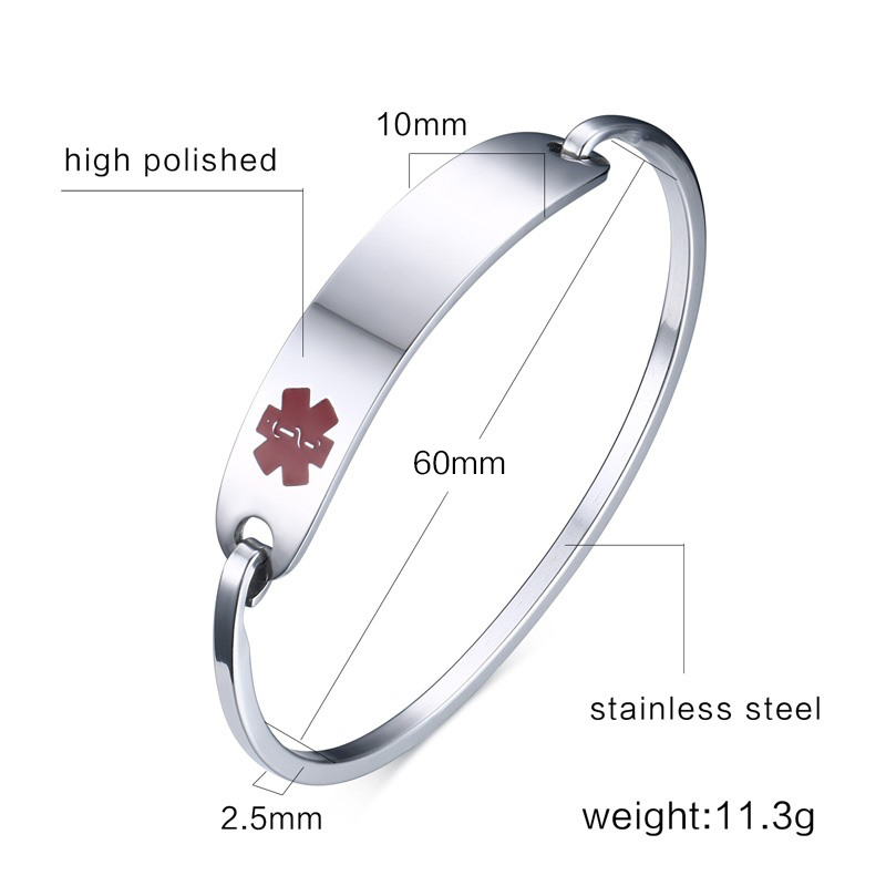 Free Engraving Medical Bracelets & Bangles ID Jewelry for Women Stainless Steel Metal Not Allergy