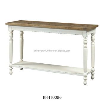 European Hobby Lobby Console Table, White Antique Narrow Side Table With  Parquet Top And Base