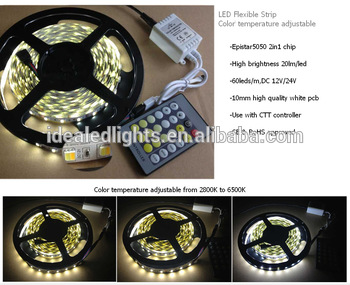 High quality Warm white cool white 2 in 1 colorchangable led strip 5050 flexible led tape light