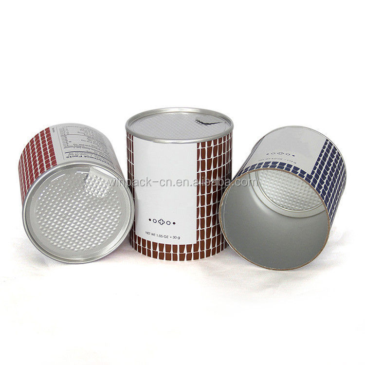 hotsale cookies paper cylinder cans with aluminum peel off easy open lids