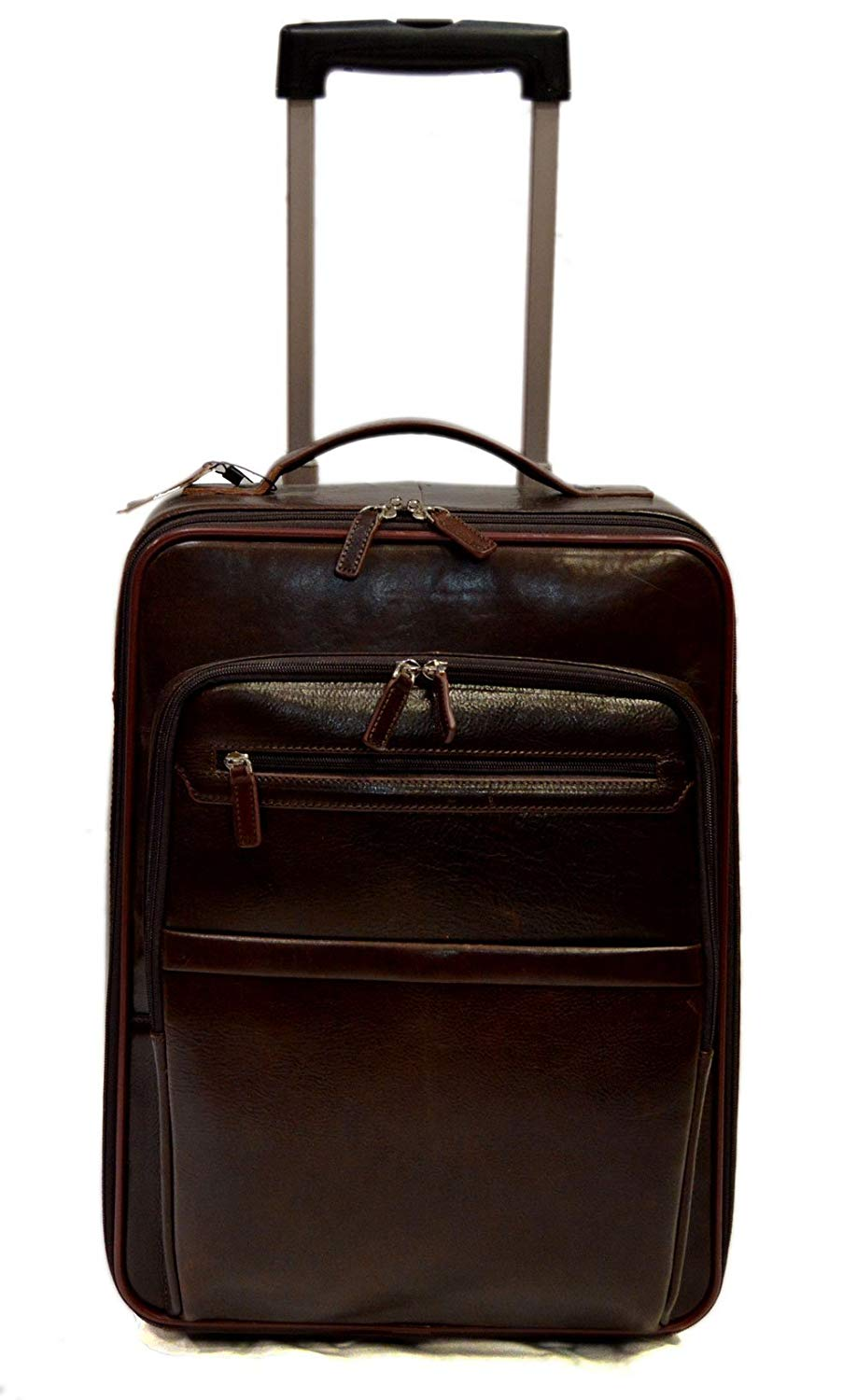 42d2bfaf1175 Get Quotations · Leather trolley travel bag dark brown overnight leather bag  with two wheels leather cabin luggage airplane