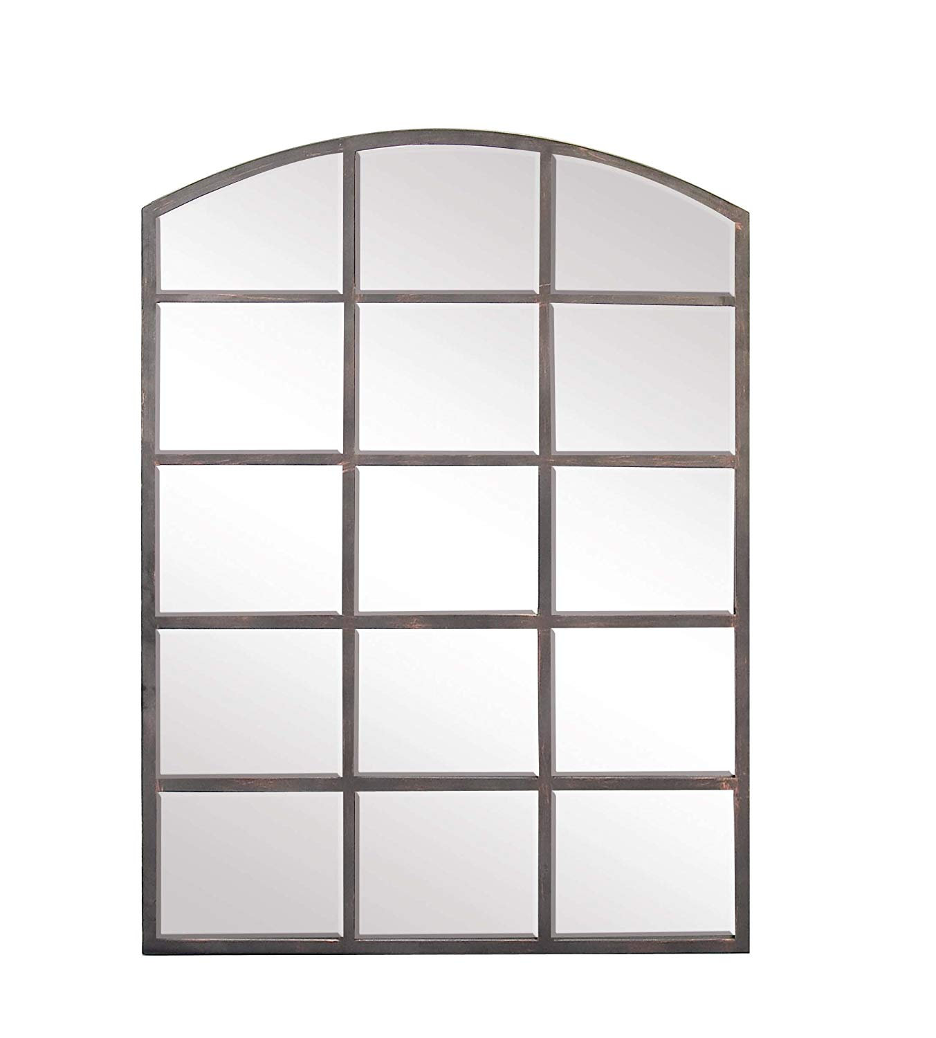 55c05166a651 Get Quotations · Deco 79 53393 Modern Wood and Iron Arched Window Paneled Glass  Wall Mirror