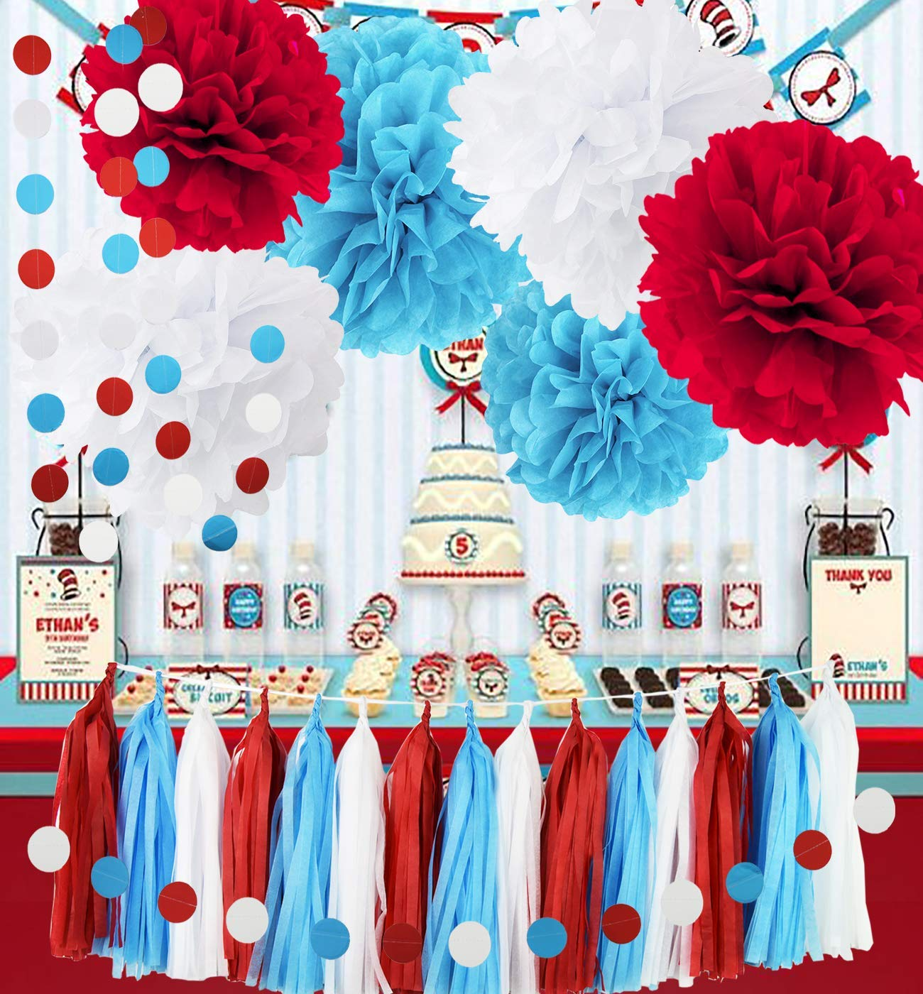Get Quotations Bridal Shower Decorations Turquoise White Red Tissue Pom With Circle Paper Garland For Baby