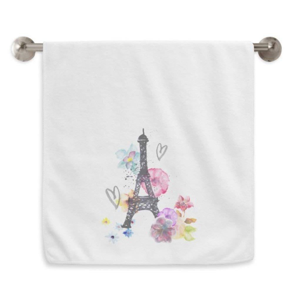 DIYthinker Eiffel Tower Heart-shaped France Circlet White Towels Soft Towel Washcloth 13x29 Inch