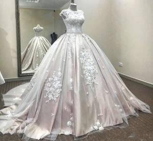 ZH3198G Satin Ball Gown Wedding Dresses Jewel Neck Lace Applique Tulle Sleeveless Court Train Bridal Gowns