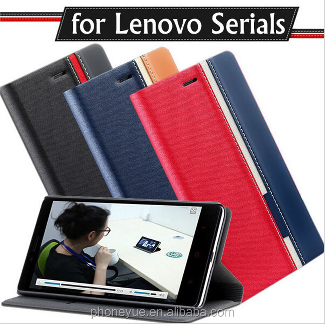Business Double Color Flip Card Slot Stand PU Leather Back Cover Case for Lenovo P70