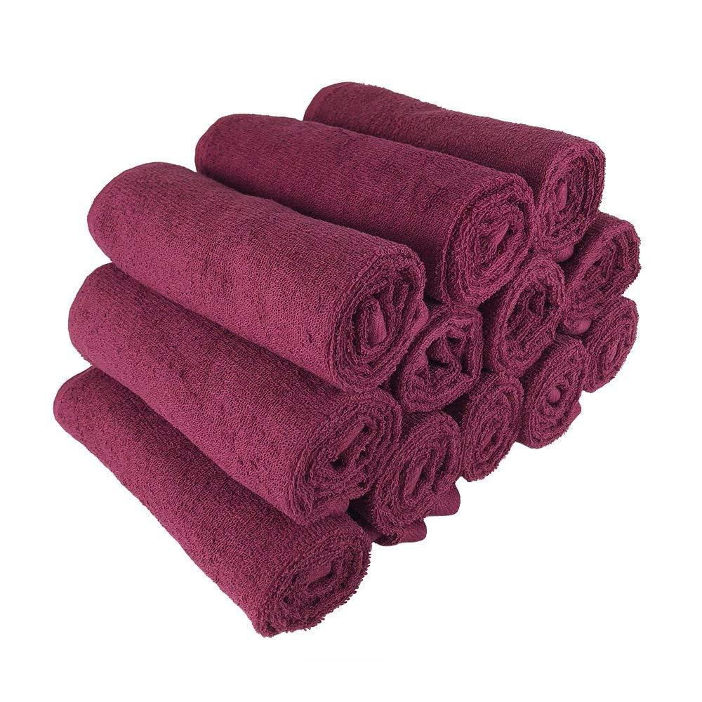 Salon Towels 12 Pcs 16x27 100/% Cotton Hand Towel Hair Salon Towel Burgundy Color