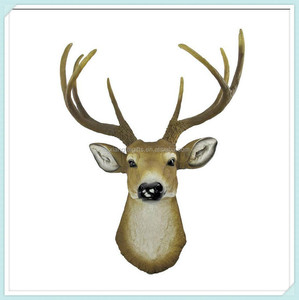 resin ceramic crafts deer antler head figurines for wall hanging
