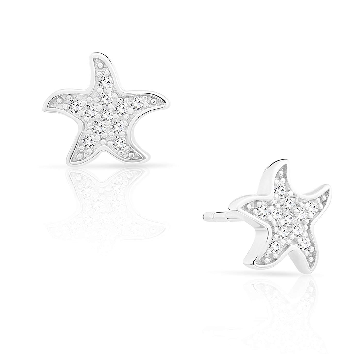 Sterling Silver Rhodium-plated Textured CZ Starfish Childrens Post Earring