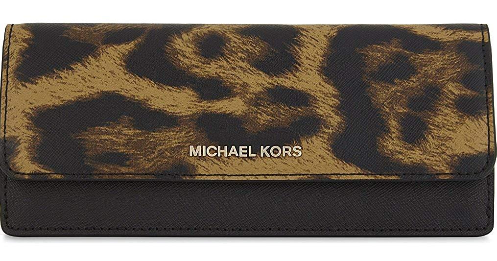 MICHAEL Michael Kors Jet Set Travel Leopard Saffiano Leather Flat Wallet