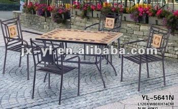 Tavoli Mosaico Da Giardino.Mobili Da Giardino Rettangolo Mosaico In Ferro Battuto Tavolo E