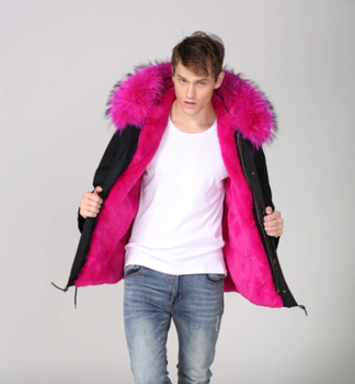 Rose Pink Black Cotton real fur Parka Fashion Mens Casual Wear Thickness Fur Rabbit Lined fur parka