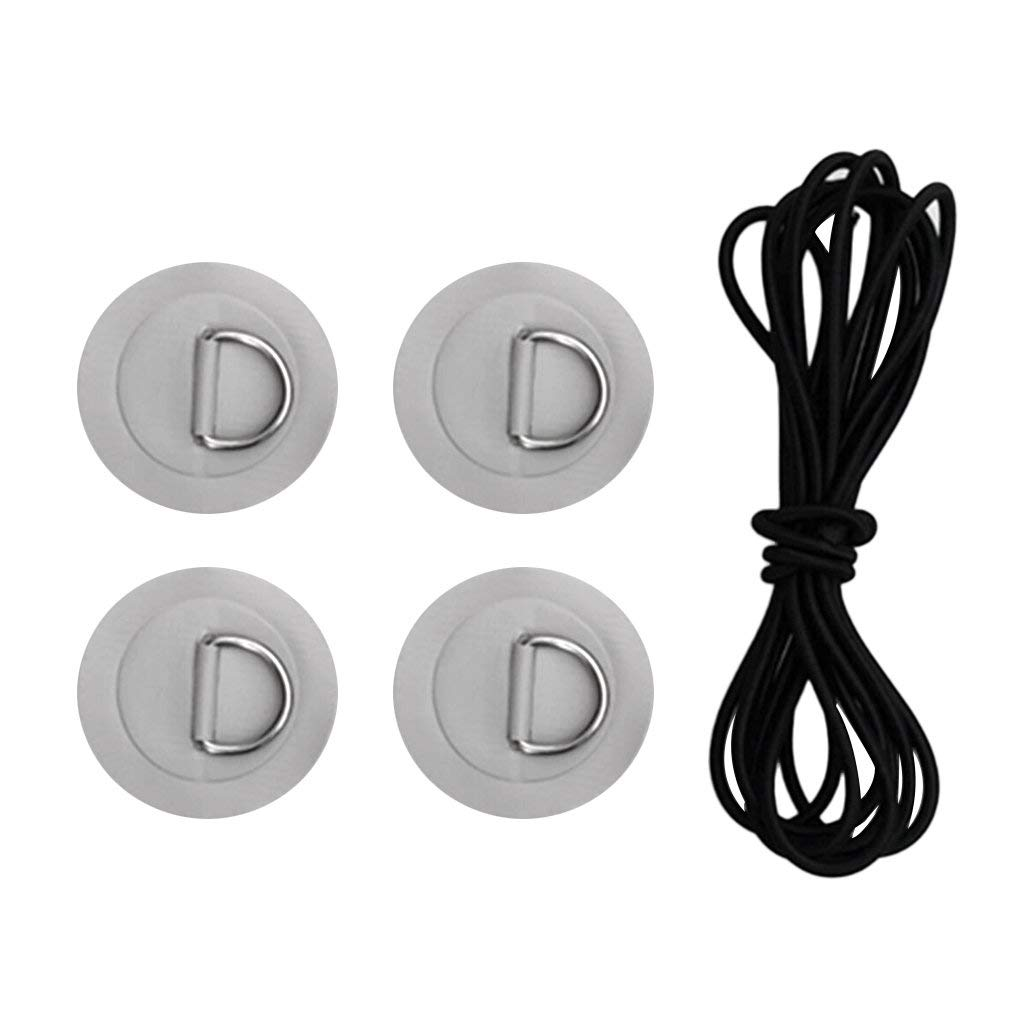 MagiDeal Stand Up Paddleboard SUP Bungee Deck Rigging Kit Heavy Duty 6Pcs D-Ring Pad Patch Deck Attachment Kit Accessories