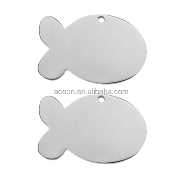 Yiwu Aceon Aço Inoxidável Pingente Stamping Fish Dog tag Blanks Fit Gravura Charme Tag