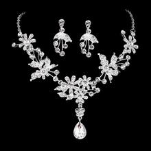 Top Quality Cubic Zirconia Bridal Jewelry Sets Silver Color Flower Necklace Earrings Sets women Wedding Accessories