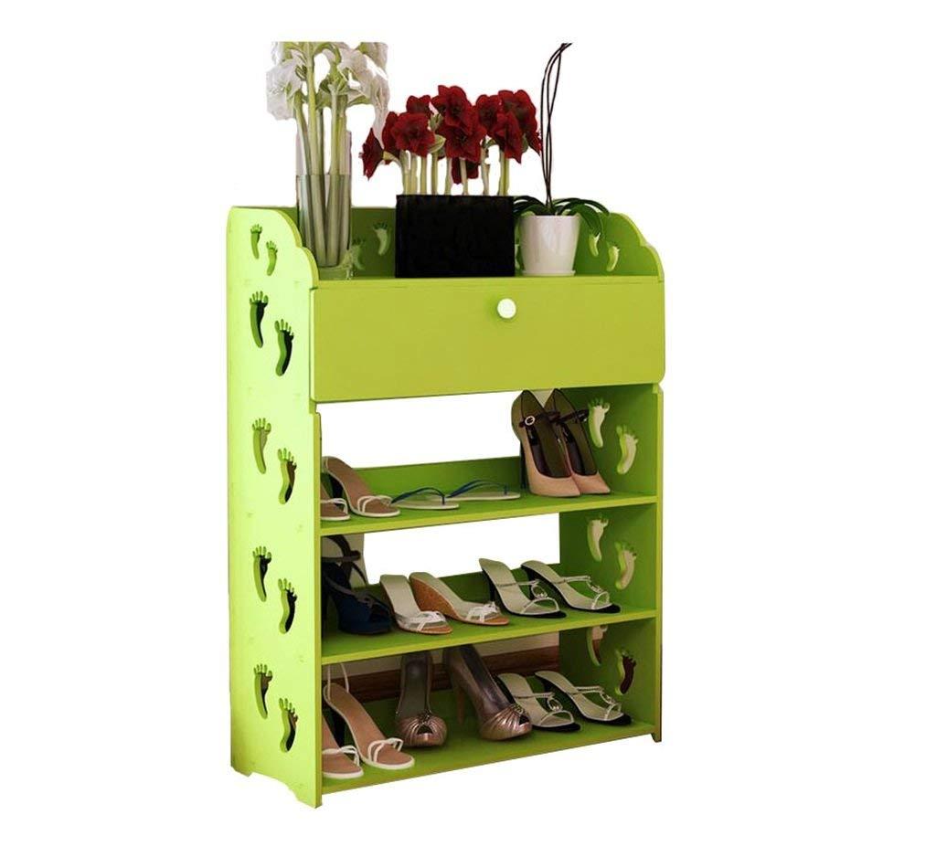 AIDELAI shoe racks Shoe Rack Cabinets Creative Carvings Organiser Shelves Multifunctional Dustproof 4 Tiers With Drawer Combination Of Shoe Racks (Green/602481)