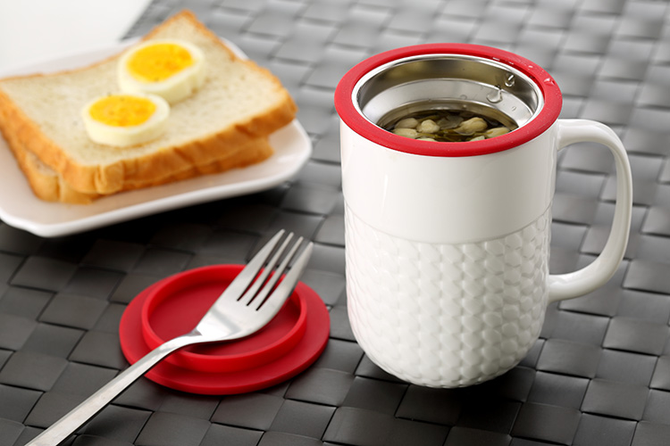 wholesale with filter and lid plain white ceramic cheap coffee cup gift tea infuser mug
