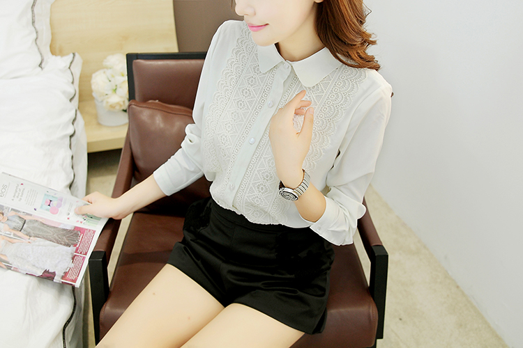 Latest tops women fashion blouse chiffon lace shirt